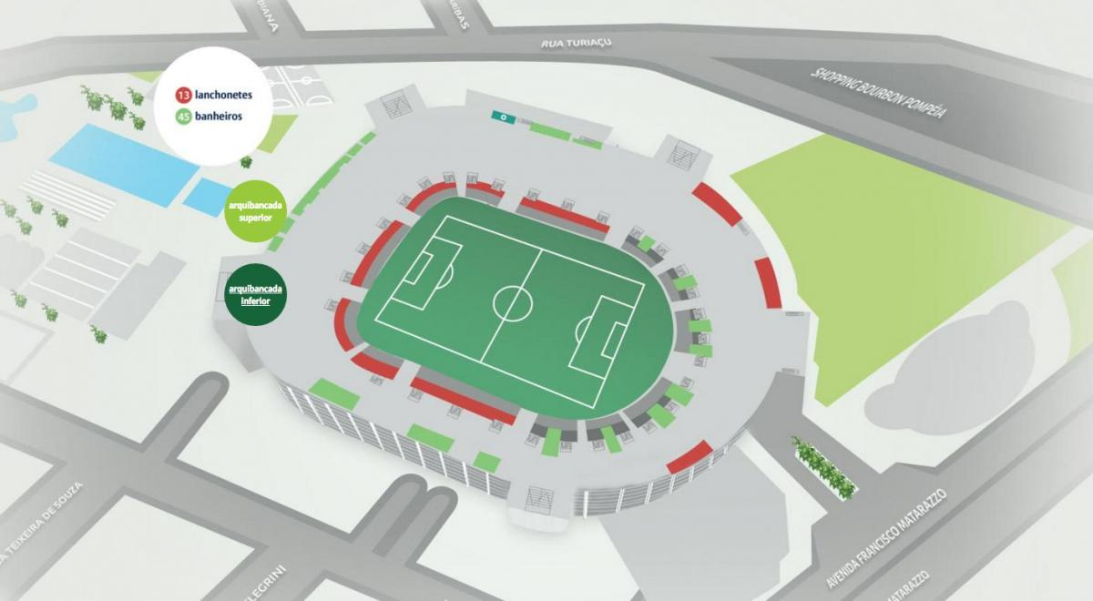 Mapa de Allianz Parque - Inferior de la gradas